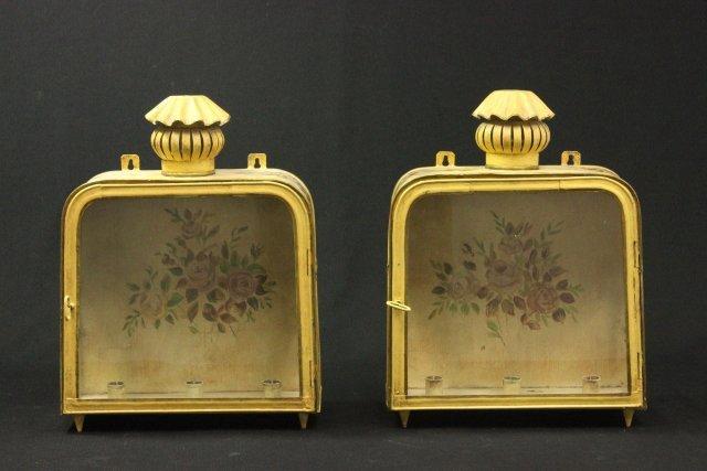 Pair Yellow Tole Peinte Lanterns