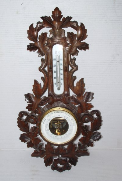 20: 19TH C. BLACK FOREST BAROMETER/THERMOMETER.