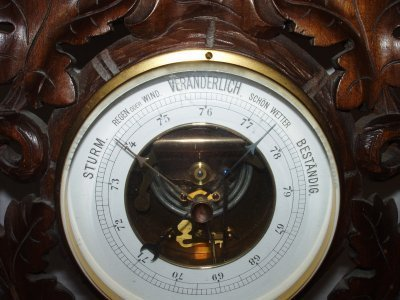 20: 19TH C. BLACK FOREST BAROMETER/THERMOMETER. - 2