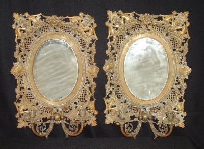25: PAIR VICTORIAN OVAL MIRRORED 2 LIGHT SCONCES.