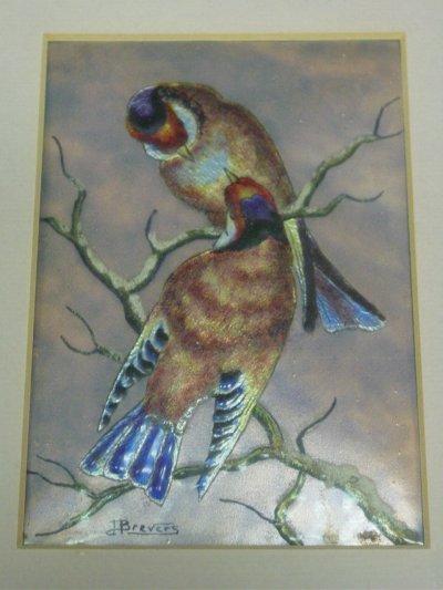 52: ENAMELLED PLAQUE OF LOVE BIRDS.