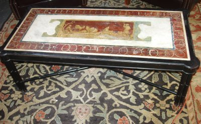75: NEOCLASSICAL MARBLE TOP COFFEE TABLE.