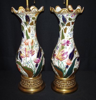 79: PAIR 19TH C. PORCELAIN VASES MOUNTED AS LAMPS.