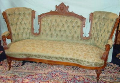 83: VICTORIAN FIGURAL CARVED SOFA.
