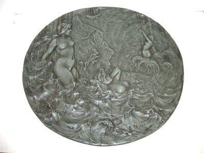 88: ART NOUVEAU METAL PLAQUE OF NUDE WOMAN.