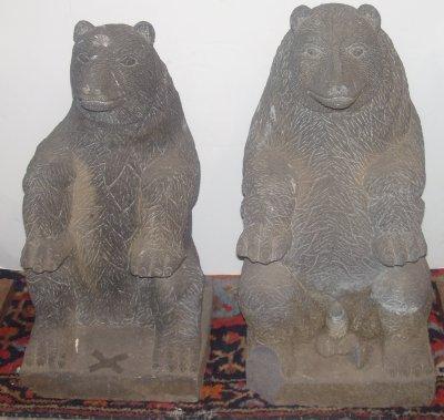 91: PAIR 20TH C. STONE FIGURES OF BEARS.
