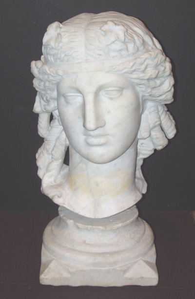 92: 18TH C. GRAND TOUR MARBLE BUST OF YOUTH.