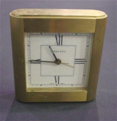 613: BRONZE TIFFANY & CO. TRAVEL CLOCK & LUCITE CLOCK