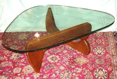617: GLASS TOP BOOMERANG TABLE