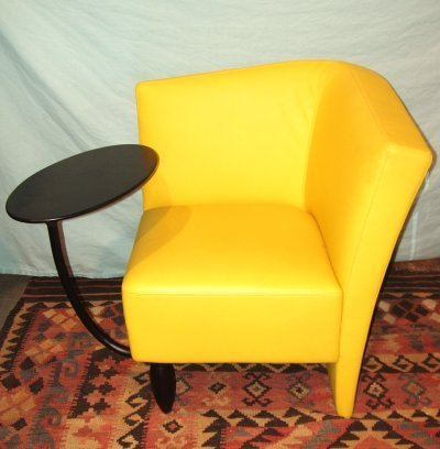 623: PAIR YELLOW LEATHER CHAIRS