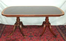 1019 BANDED MAHOGANY BAKER DINING ROOM TABLE