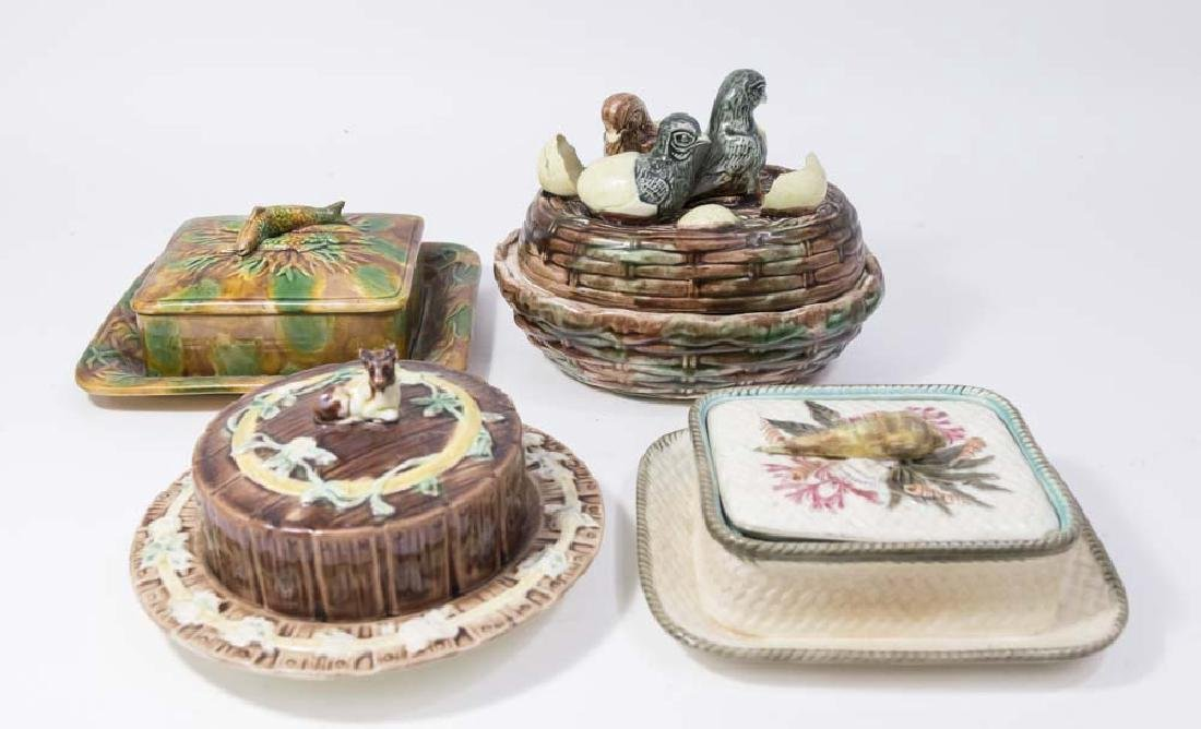 4 Majolica Covered Dishes