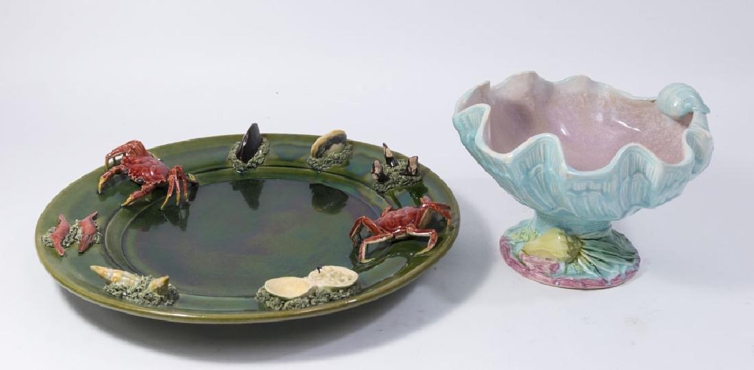 Portuguese Majolica Platter & Shell-Shaped Bowl
