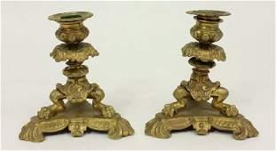 Pair Dore Bronze Candlesticks