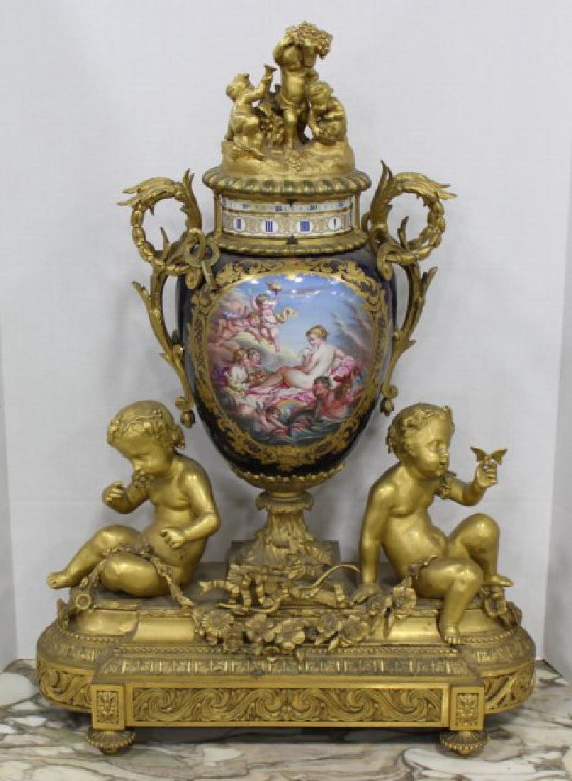 French Sèvres Porcelain Vase Clock
