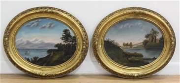 Pair 19th Century Hudson River School Landscapes