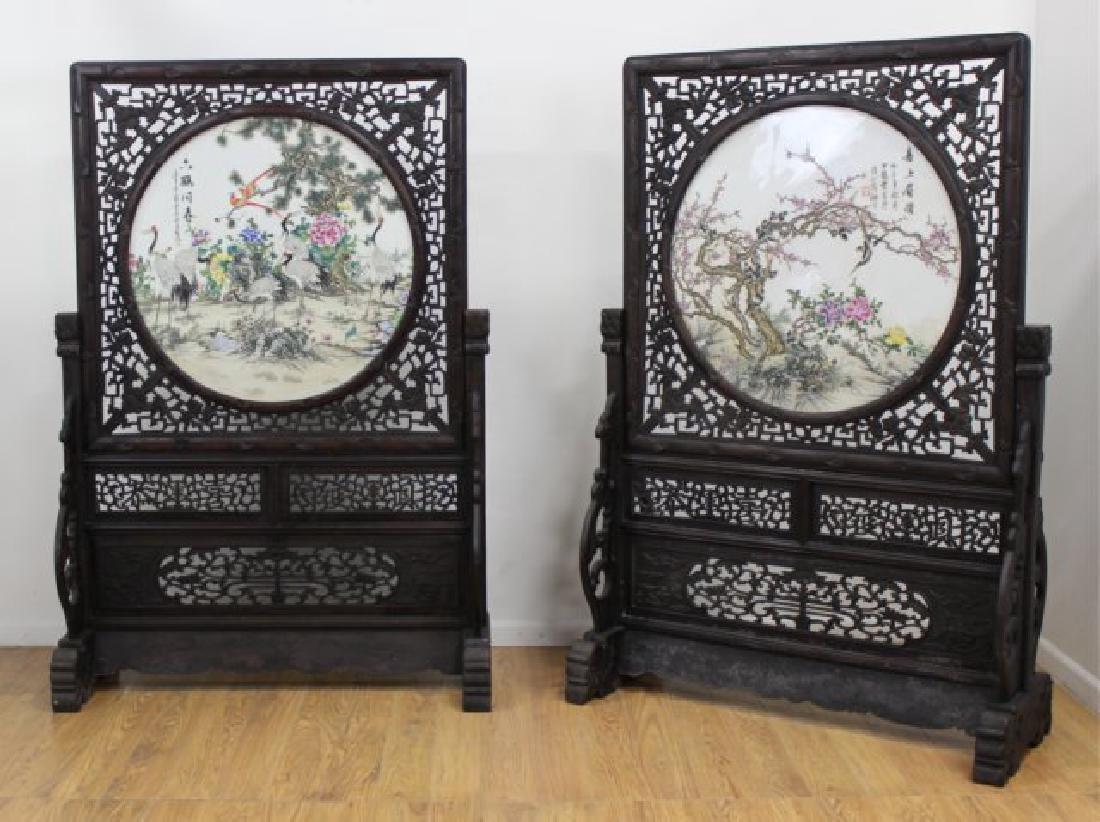 Pair Monumental Chinese Screens