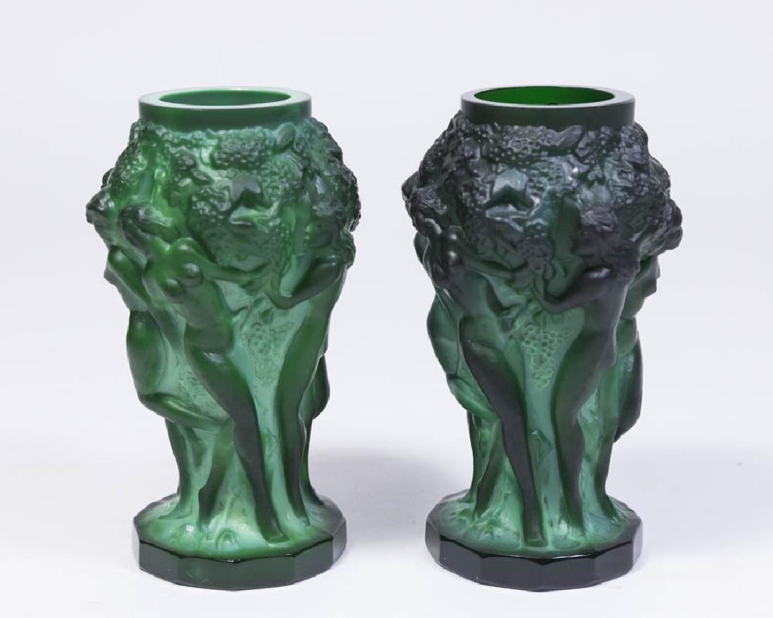 Pair Czech Malachite Glass Vases
