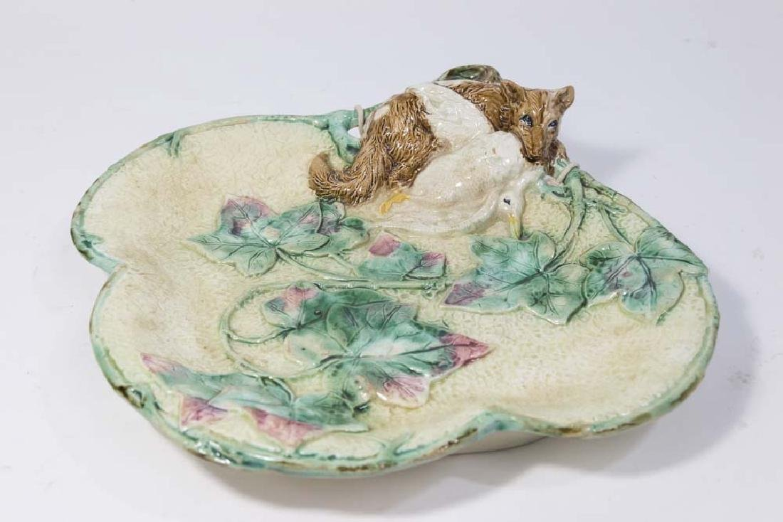 Majolica Hunt Plate, Fox with Fowl & Leaf