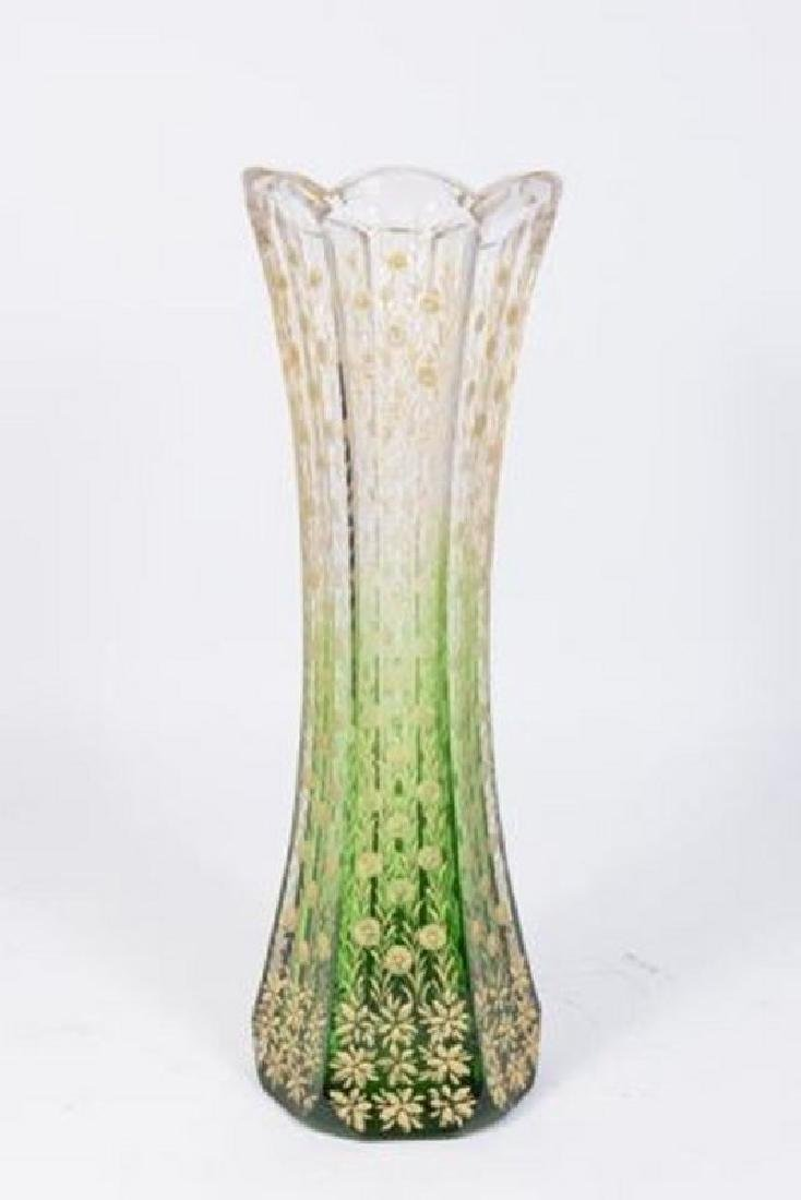 :American Victorian Green to Clear Glass Vase