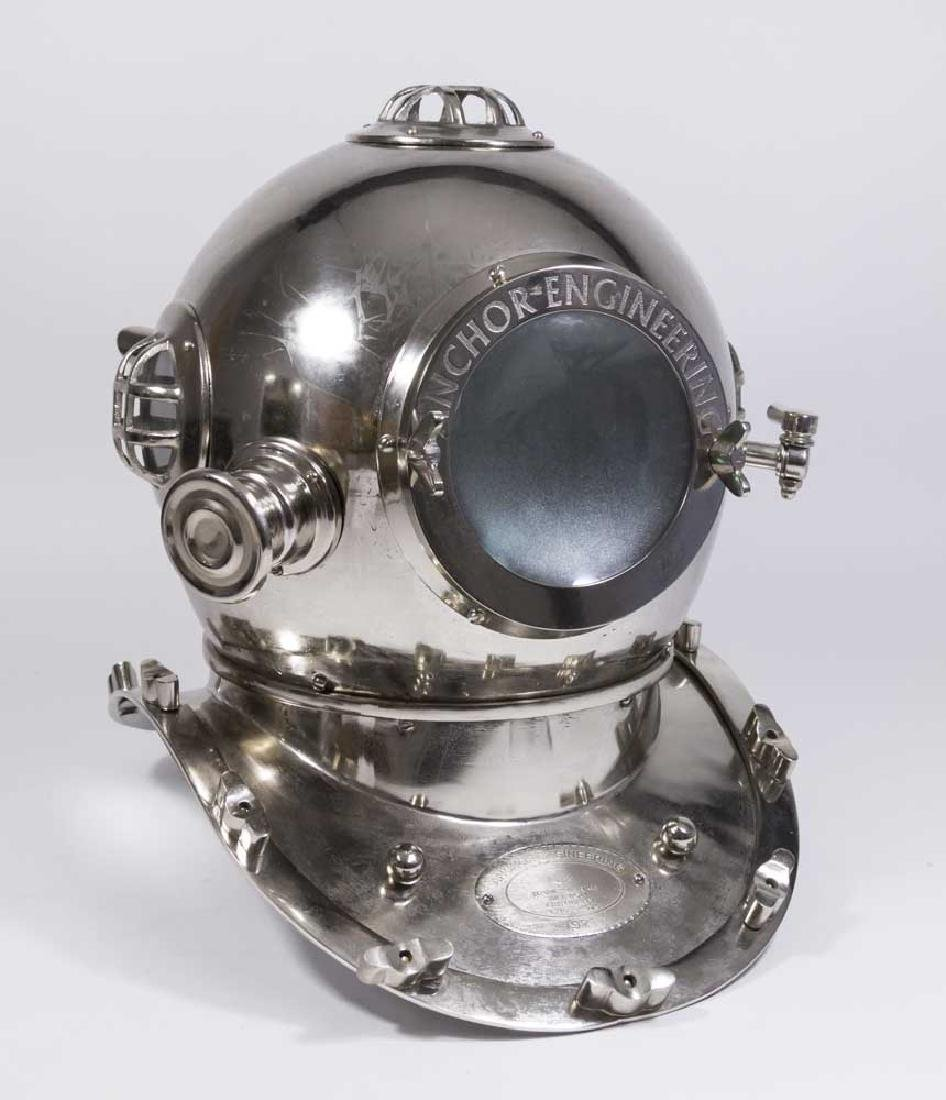 Silvered Metal Model of Diving Helmet