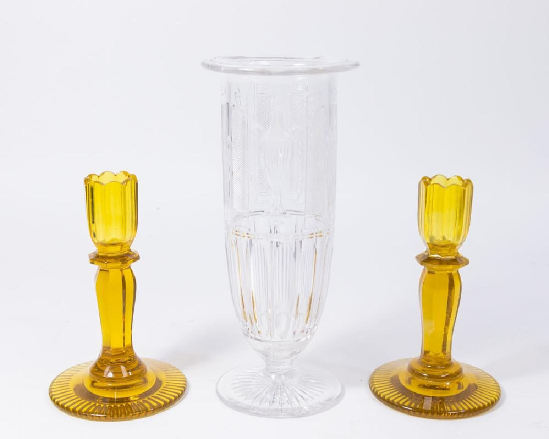 Pair Amber Cut Candlesticks & Glass Vase