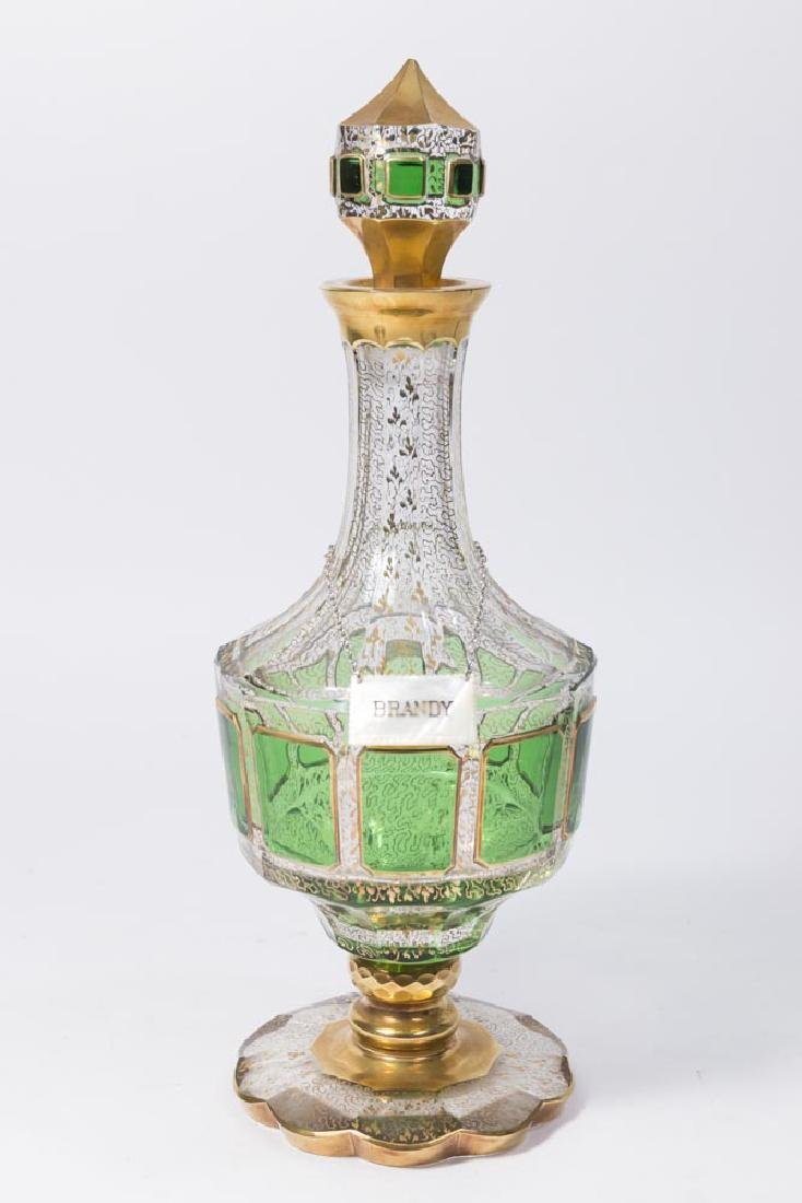 Moser Green & Gilded Glass Decanter