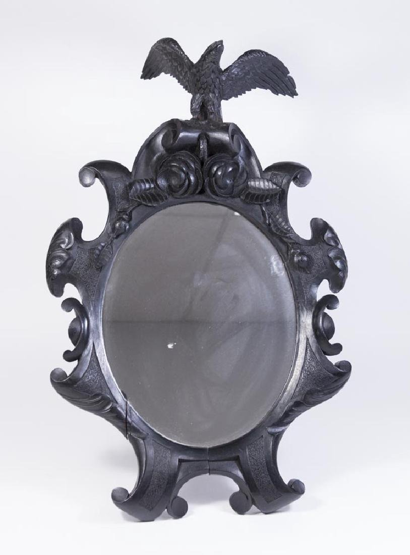 Black Forest Carved Table Mirror with Eagle on Top