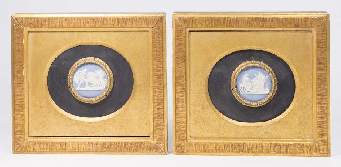 Pair Wedgwood Circular Plaques in Gilt Frames