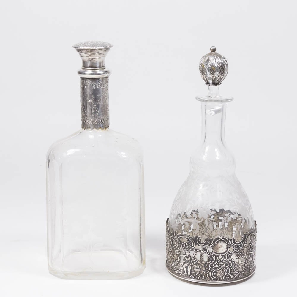 2 Etched Crystal Liquor Bottles with Silver Mounts
