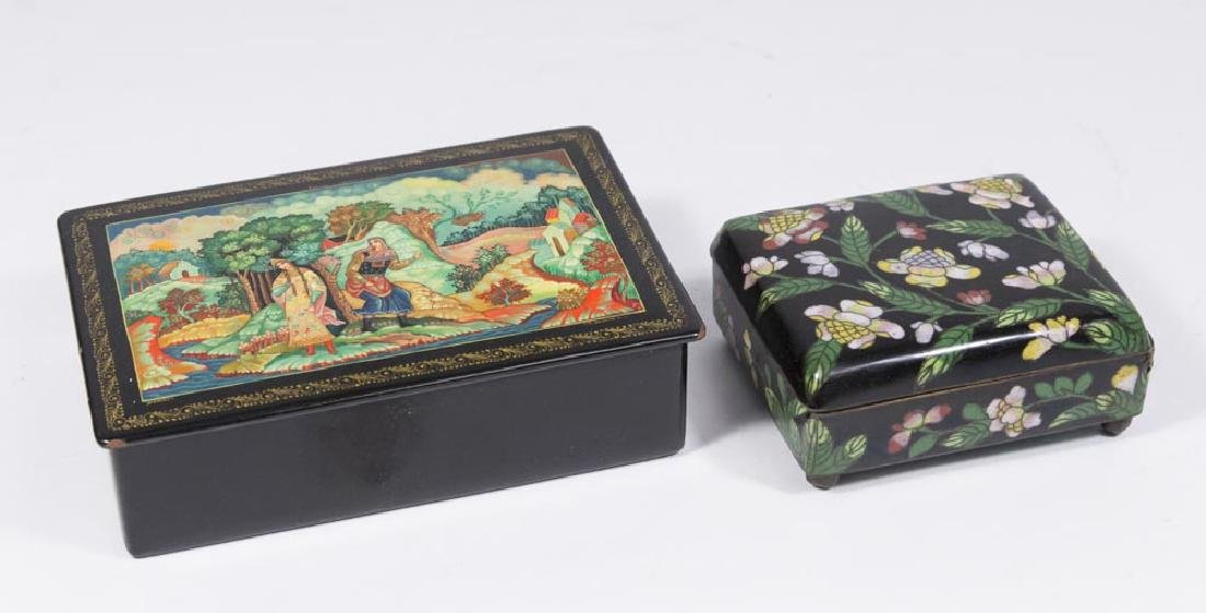 Russian Lacquered Box & Chinese Lacquered Box