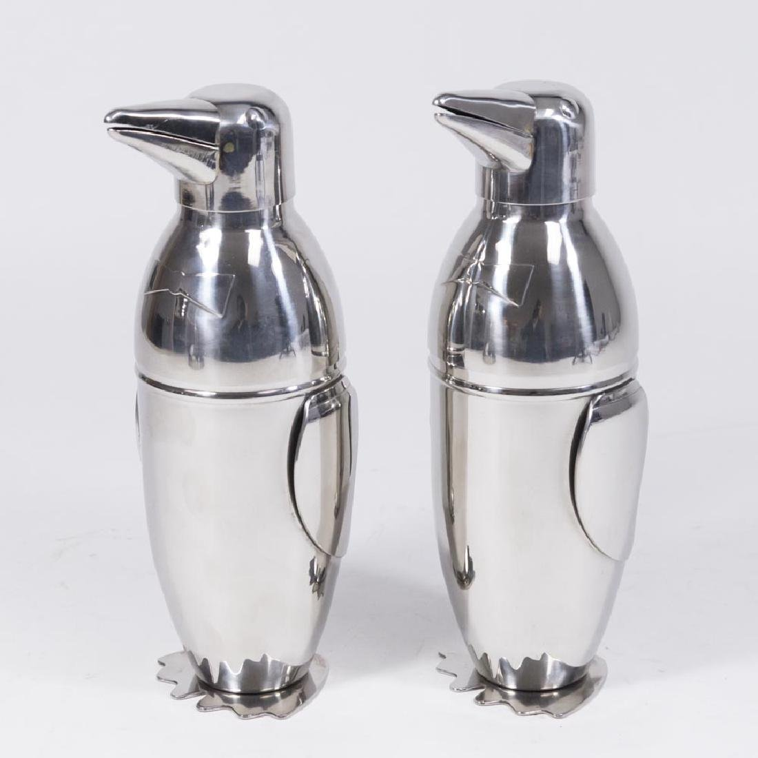 Pair Silvered Metal Penguin Cocktail Shakers