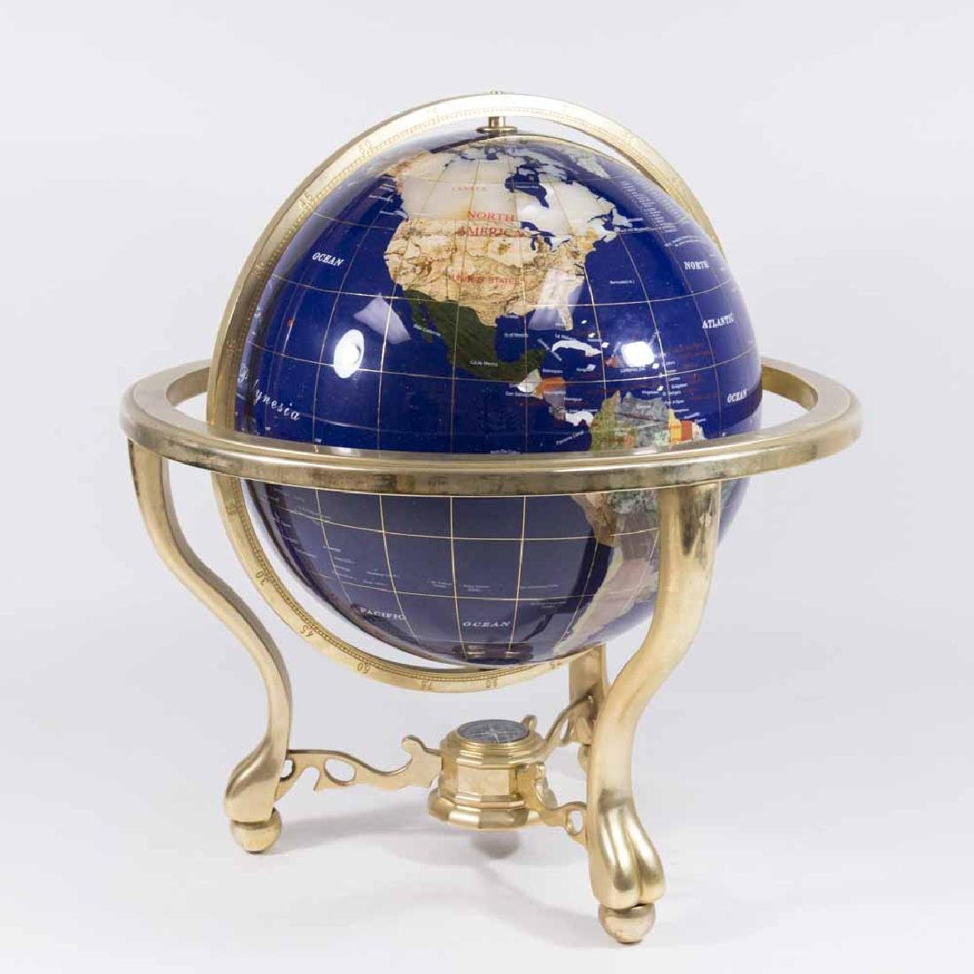 Cast Brass Enameled & Inlaid Stone Globe on Stand