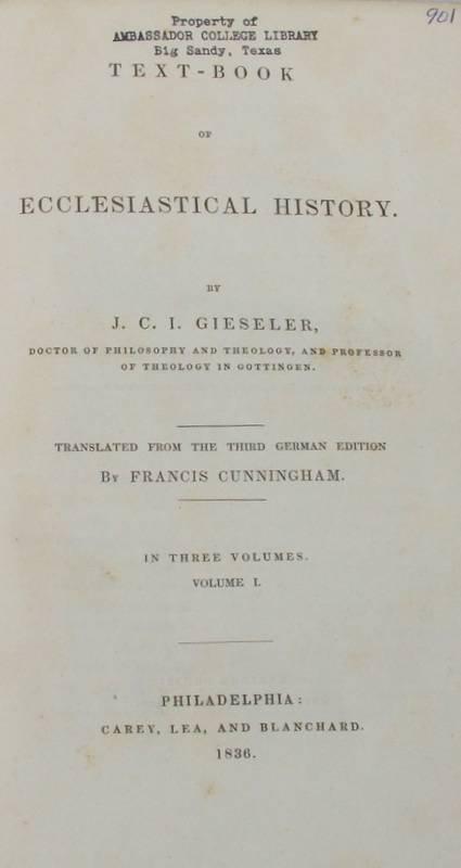 1832: 3V Set Gieseler ECCLESIASTICAL HISTORY 1836