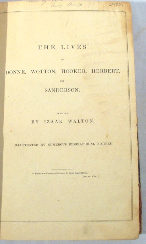 2003: c1844 FOUR TITLES Walton Donne Hooker Herbert
