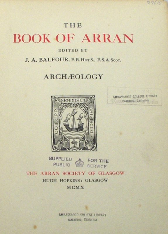 2012: Balfour BOOK OF ARRAN Archaeology 1910 Limited