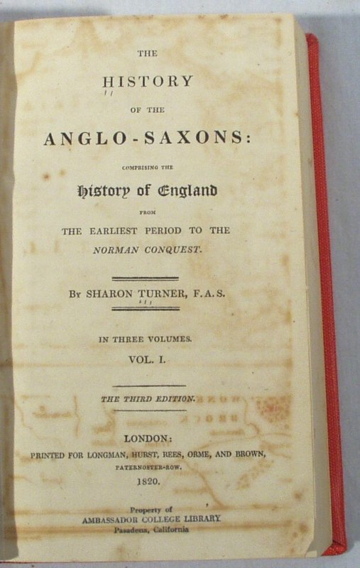 2020: 3V Set Turner HISTORY ANGLO-SAXONS 1820 Map