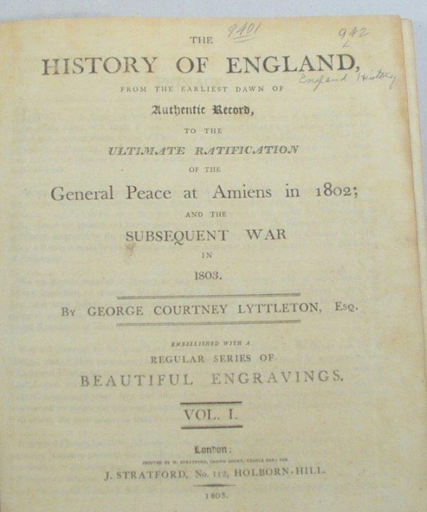 2501: 3V Lyttleton HISTORY ENGLAND 1803-05 Maps Woolsey