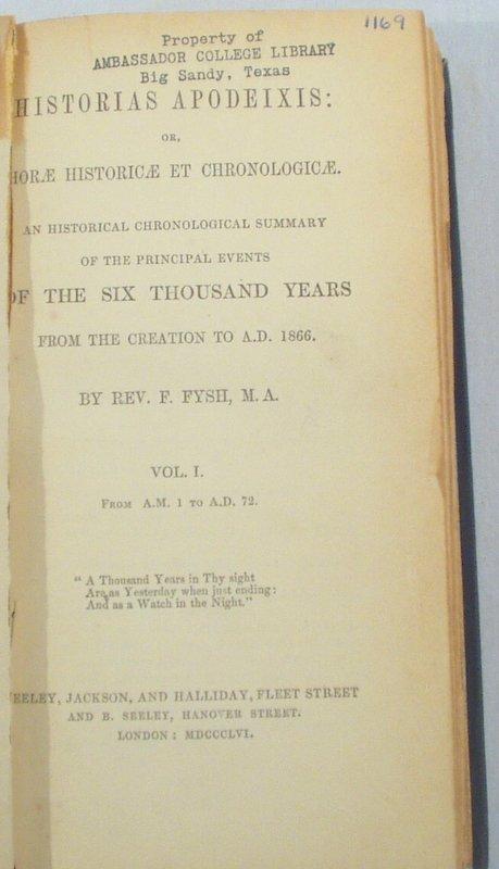 2504: 5V Fysh HISTORIAS APODEIXIS 1856 Creation to 1866