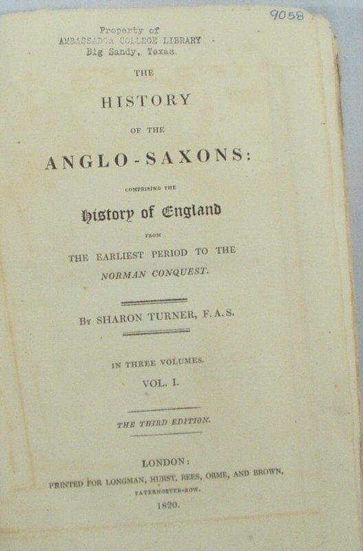 2508: 3V Turner HISTORY ANGLO-SAXONS 1820 Map England