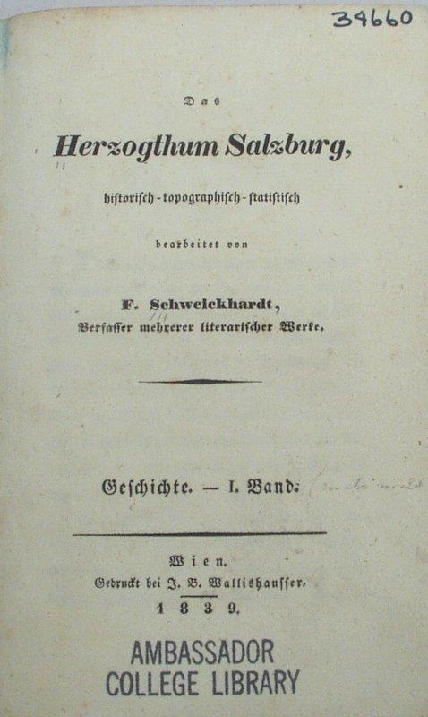 2700: Schweickhardt HERZOGTHUM SALZBURG 1839 Austria