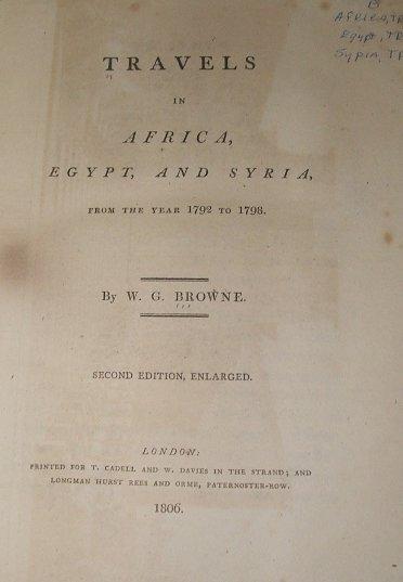 4501: Browne TRAVELS AFRICA, EGYPT,& SYRIA Rebind 1806