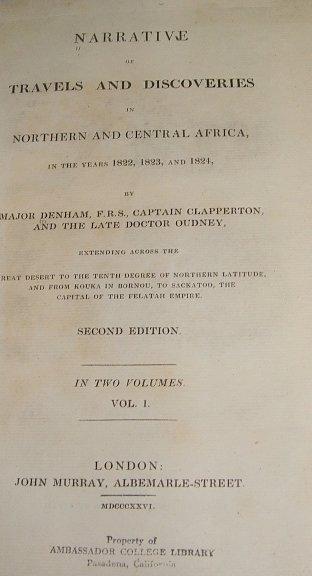 4504: 2V Set Denham TRAVELS & DISCOVERIES AFRICA 1826