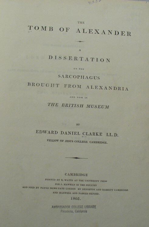 6001: Clarke TOMB OF ALEXANDER 1805 1st Ed Egypt