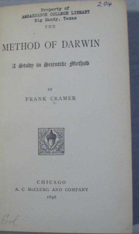 8001: Cramer METHOD OF DARWIN 1896 1st Ed Scientific Me