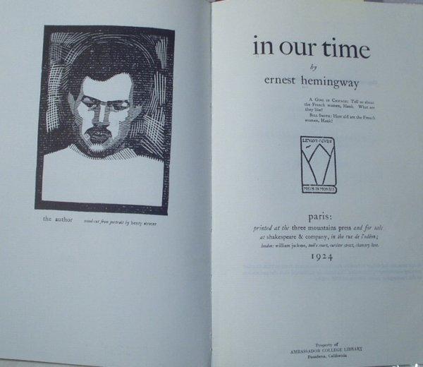 8004: Ltd.Ed.Facsimile IN OUR TIME Hemingway Paris 1977
