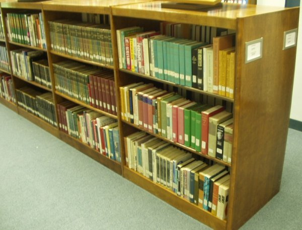 9049: Disassembled WOODEN LIBRARY SHELVING Sturdy