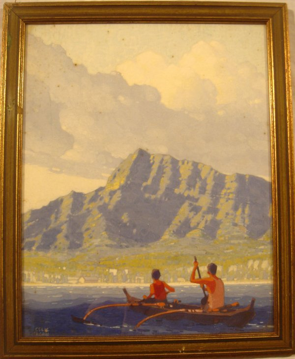 4004: Original LESLIE RAGAN Hawaii Diamond Head