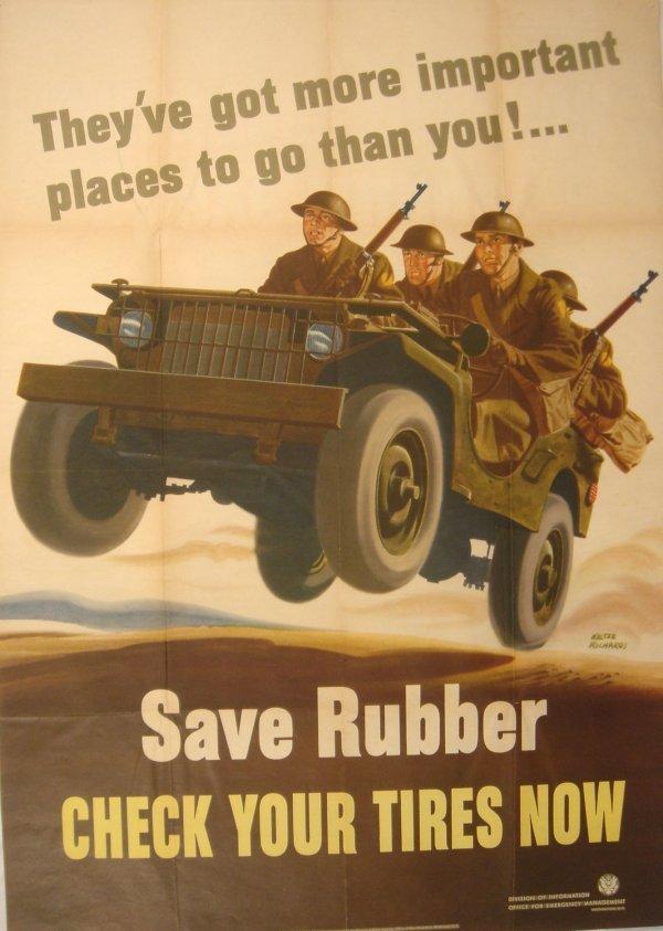 4064: World War II SAVE RUBBER Poster Walter Richards