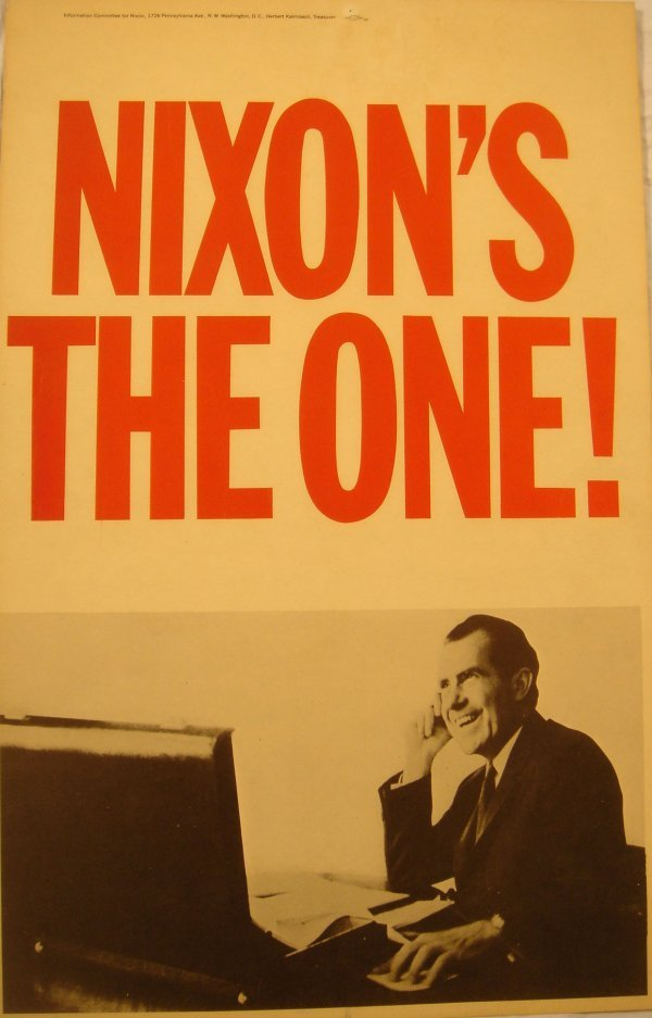 4070: 3 Original RICHARD NIXON Political Posters Acid